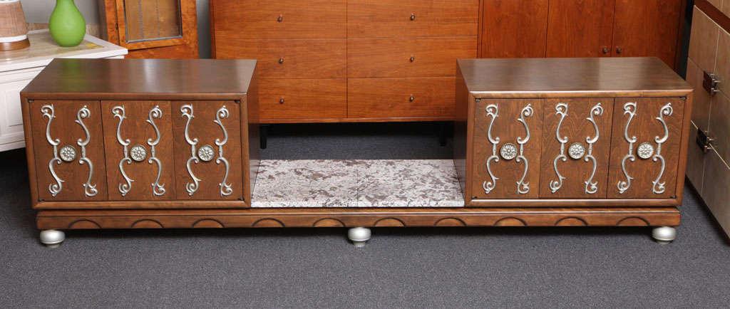 Hollywood Regency Fine Long James Mont Style Credenza Cabinet For Sale