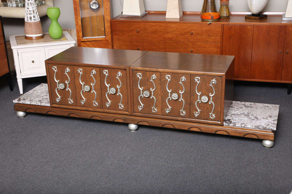 American Fine Long James Mont Style Credenza Cabinet For Sale