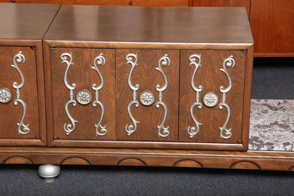 Fine Long James Mont Style Credenza Cabinet In Excellent Condition For Sale In Miami, FL