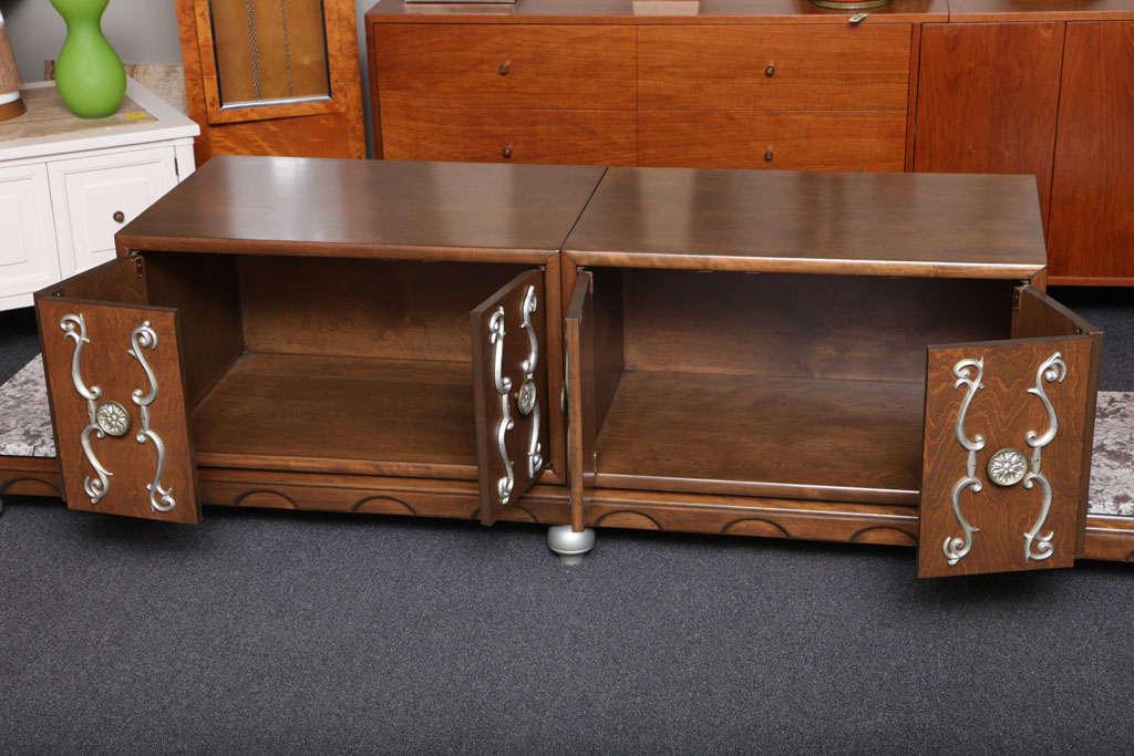 Aluminum Fine Long James Mont Style Credenza Cabinet For Sale