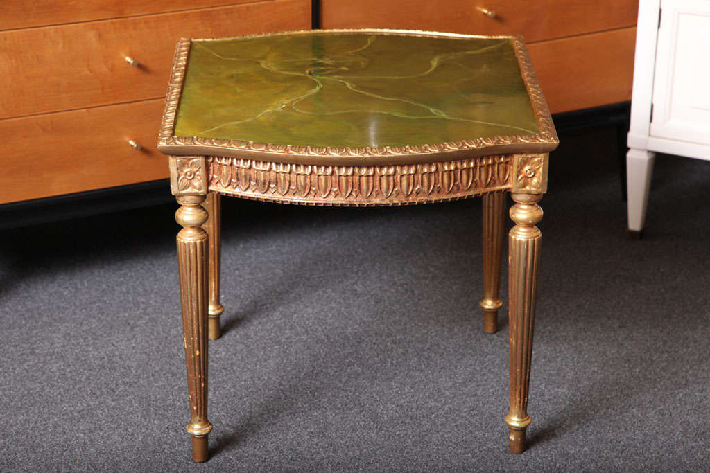 Italian Modern Louis XVI Style Giltwood Table Painted Faux Marble Top For Sale