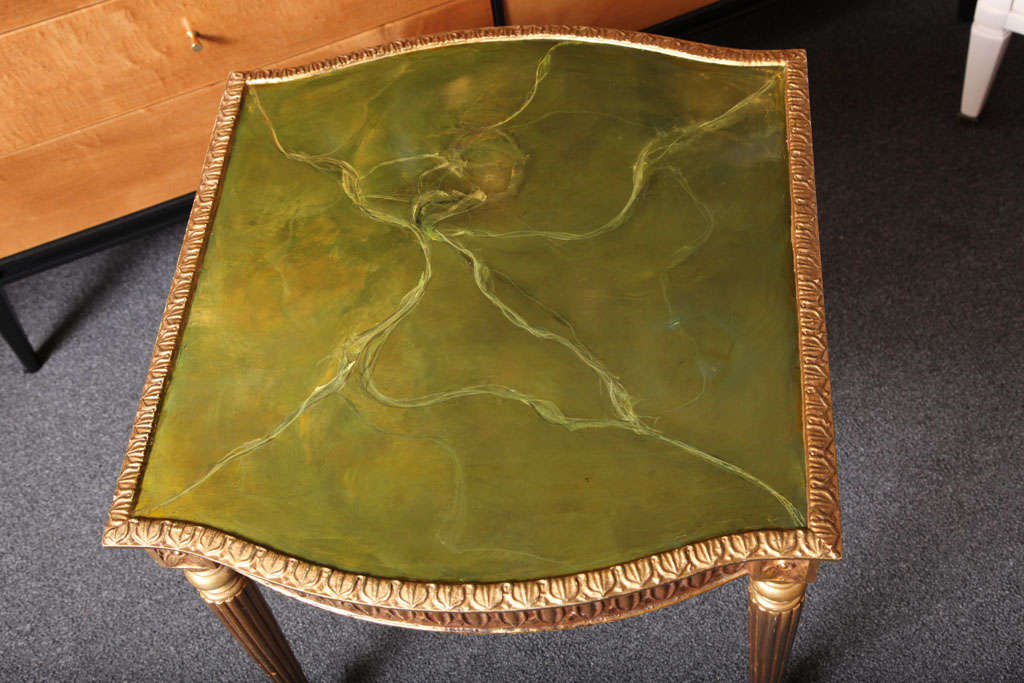 Modern Louis XVI Style Giltwood Table Painted Faux Marble Top In Good Condition For Sale In Miami, FL