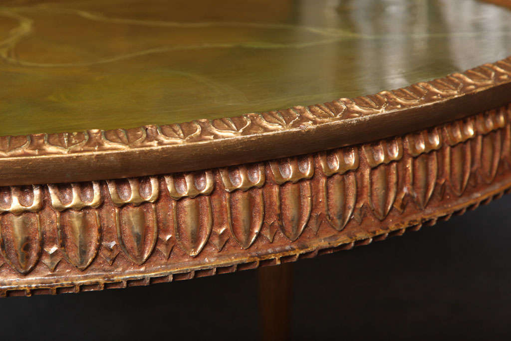 Modern Louis XVI Style Giltwood Table Painted Faux Marble Top For Sale 3