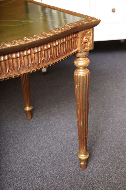 Modern Louis XVI Style Giltwood Table Painted Faux Marble Top For Sale 4