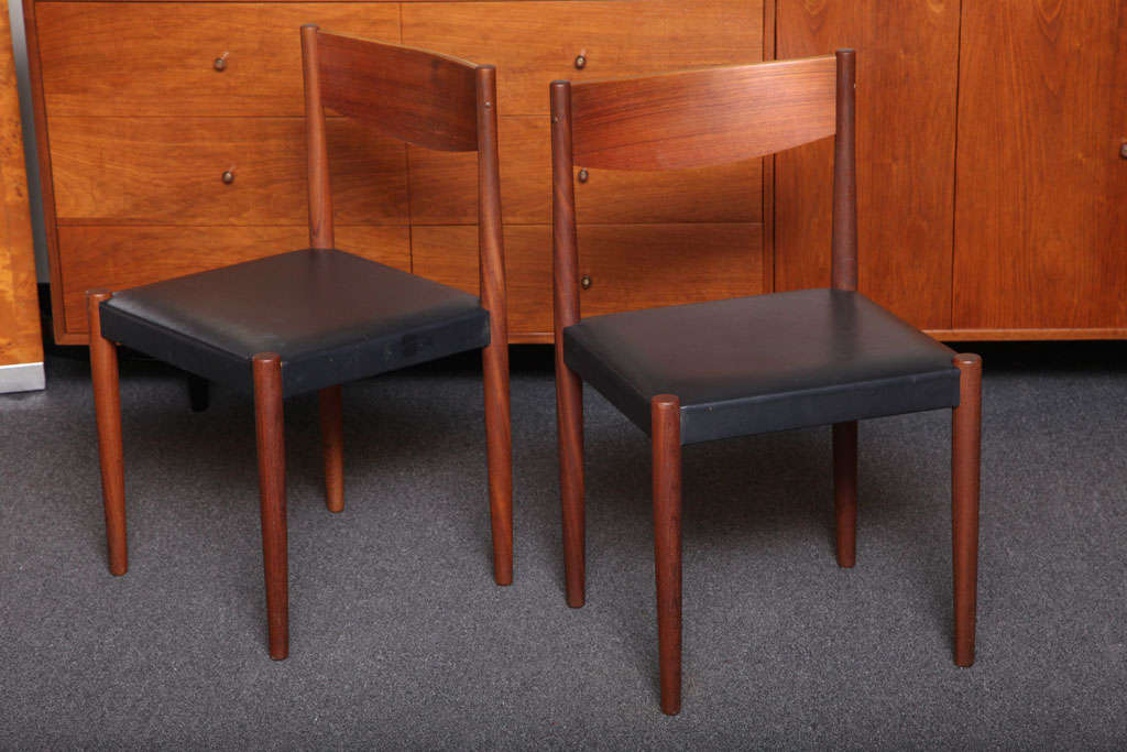 Scandinavian Modern Four Poul Volther Danish Teak Dining Chairs Frem Rojle For Sale