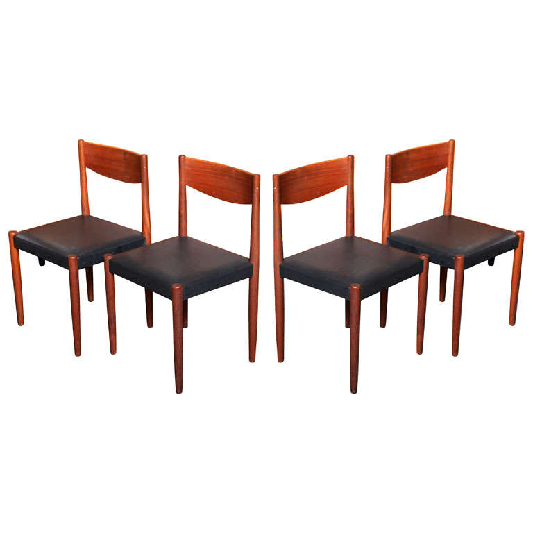 Four Poul Volther Danish Teak Dining Chairs Frem Rojle For Sale