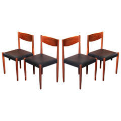 Four Poul Volther Danish Teak Dining Chairs Frem Rojle
