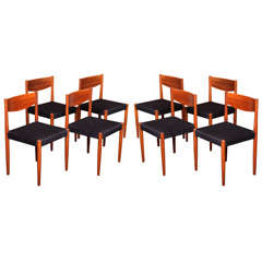 Eight Poul Volther Danish Teak Dining Chairs Frem Rojle