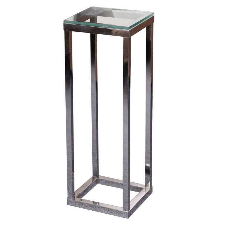 Modern Chrome Glass Top Pedestal Stand at 1stdibs