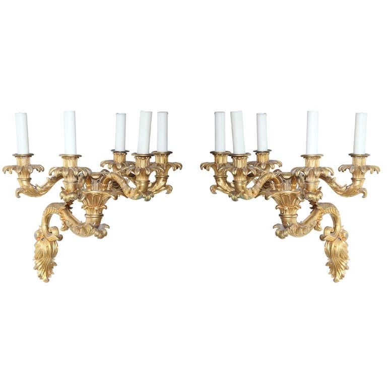 Fine Pair of Charles X Doré Bronze Five-Arm Wall Lights