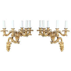 Fine Pair of Charles X Doré Bronze Five-Arm Wall Lights