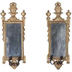 Pair of Italian Neoclassic Giltwood Girandole Mirrors