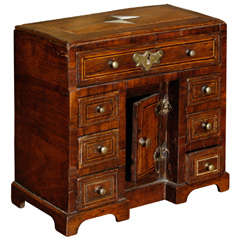 George II Miniature Walnut and Satinwood Banded Kneehole Desk