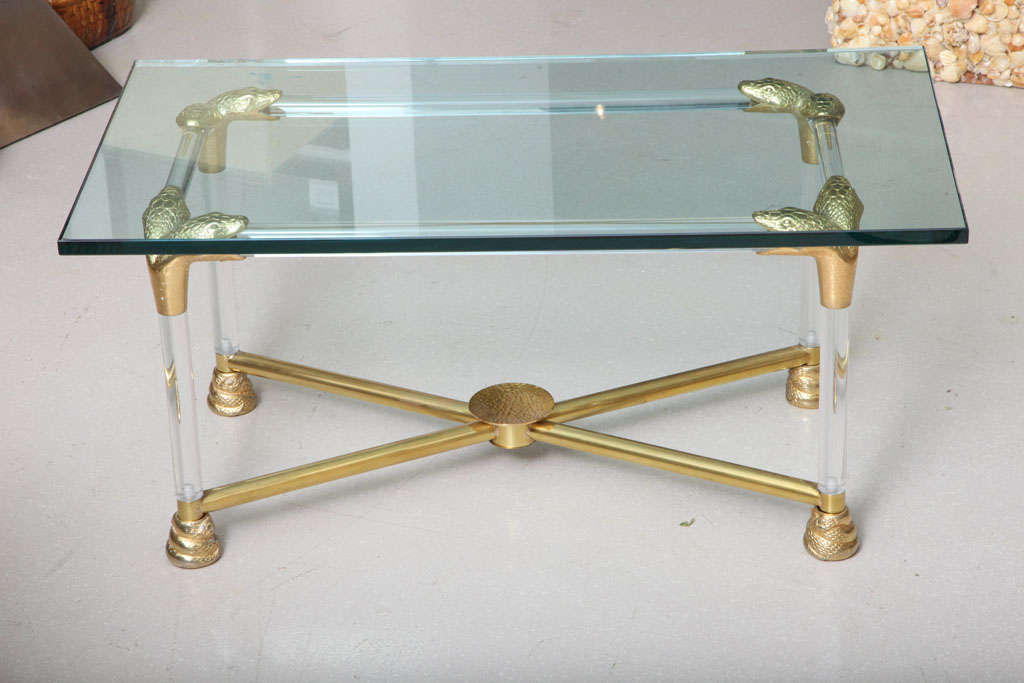 Lucite and Brass Coffee Table with Python Motif 3