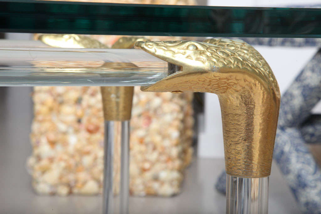 Lucite and Brass Coffee Table with Python Motif 9