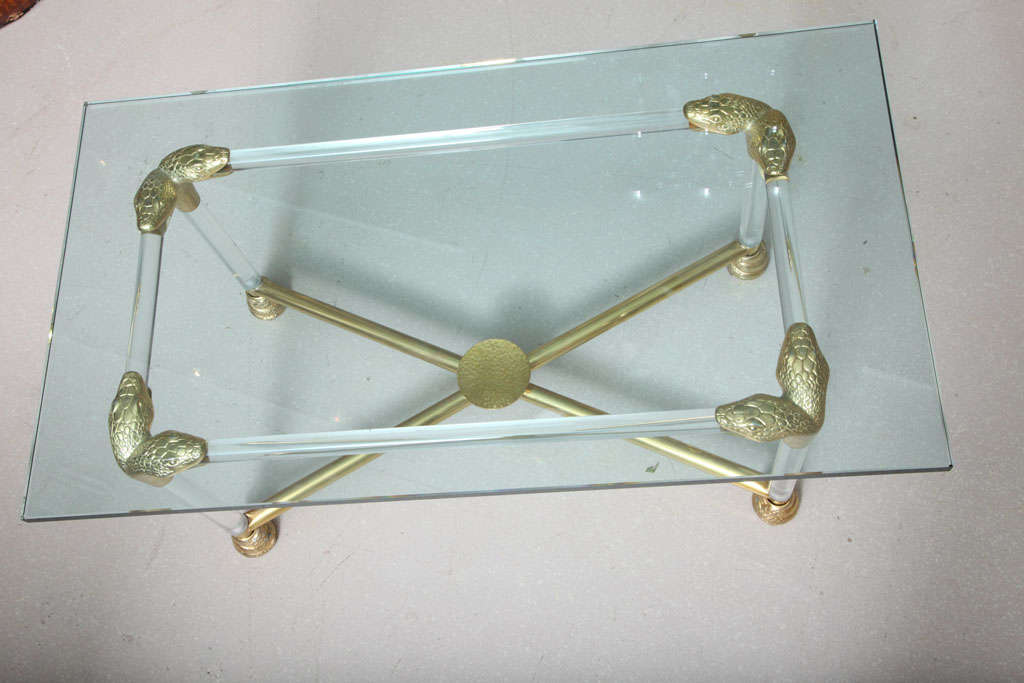 Lucite and Brass Coffee Table with Python Motif 10