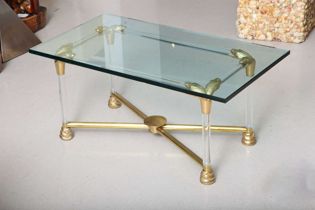 Lucite and Brass Coffee Table with Python Motif 2