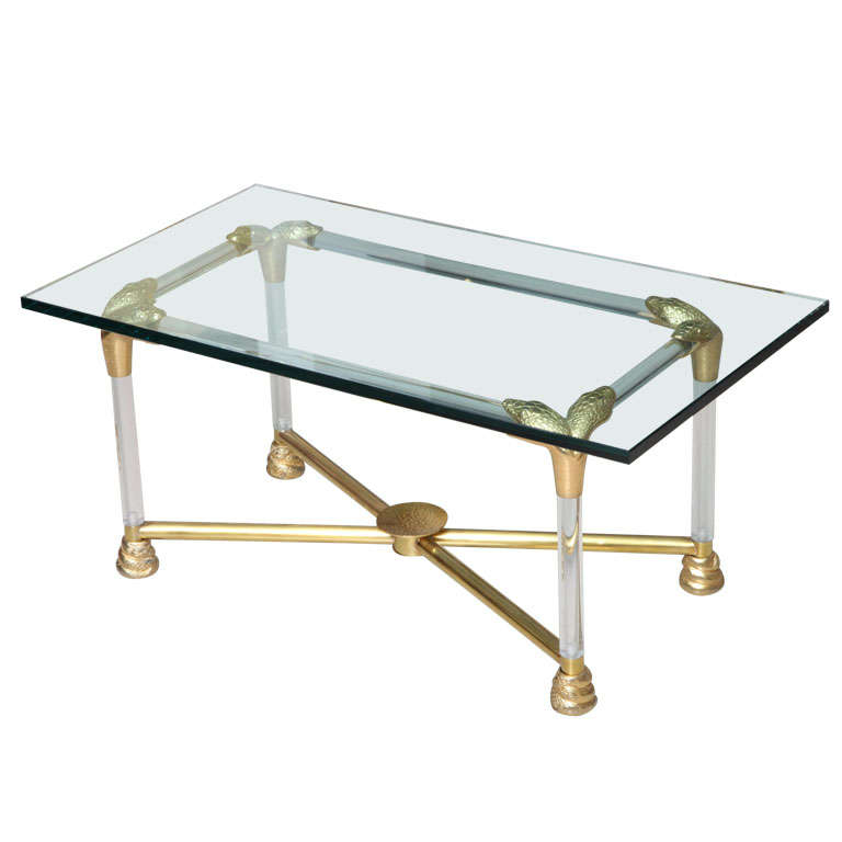 Lucite and Brass Coffee Table with Python Motif 1