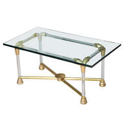 Lucite and Brass Coffee Table with Python Motif