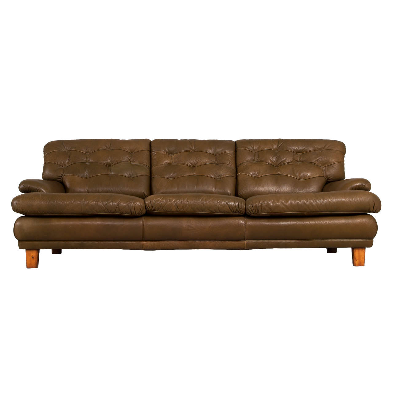 Three Seat Sofa With Green Leather By Arne Norell For Sale At 1stdibs