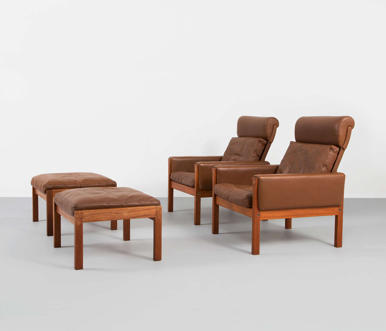 This four wishbone chairs by hans wegner is no longer available - Rare Set Of Two Easy Chairs With Two Ottomans By Hans