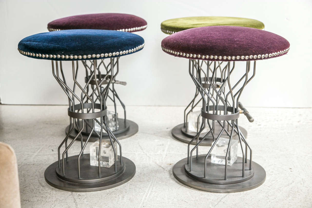 Group Of 4 Mid Century Gaming Chairs Lucite Dice At 1stdibs