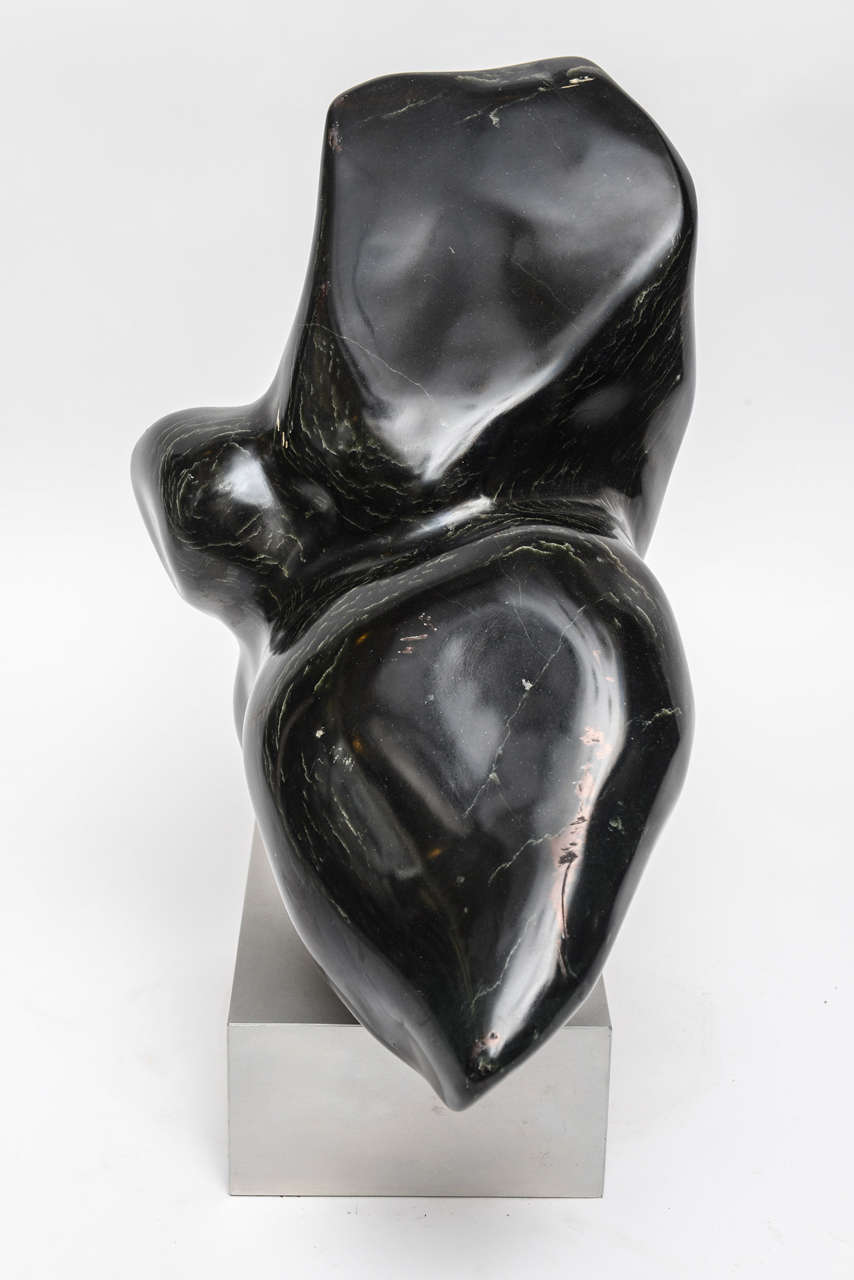 Modern Art Black Marble Sculpture On Wood Base At 1stdibs