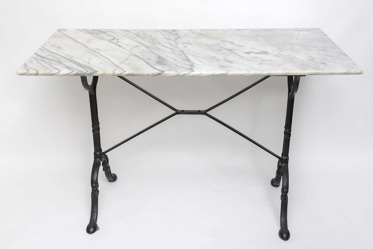 Beau Charming Black Iron And Marble Top Rectangular Bistro Table.