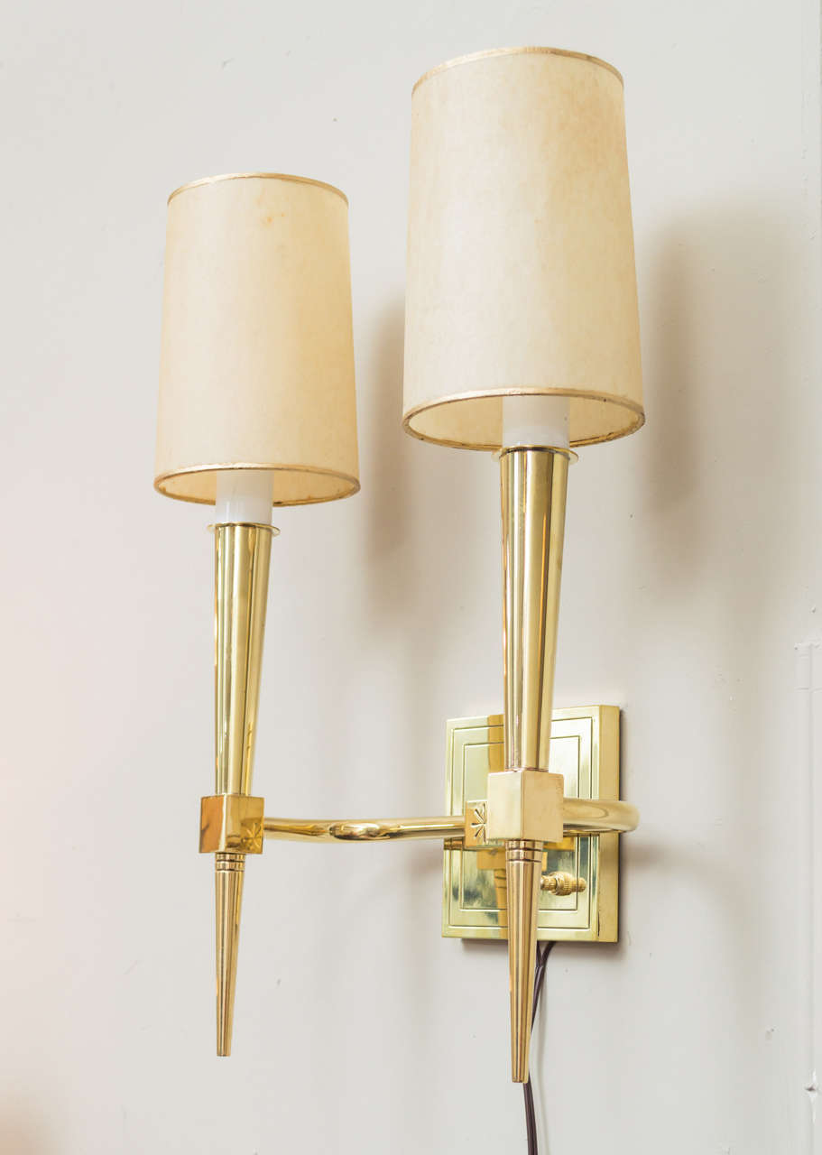 Pair of Tommi Parzinger Wall Sconces In Excellent Condition For Sale In San Francisco, CA
