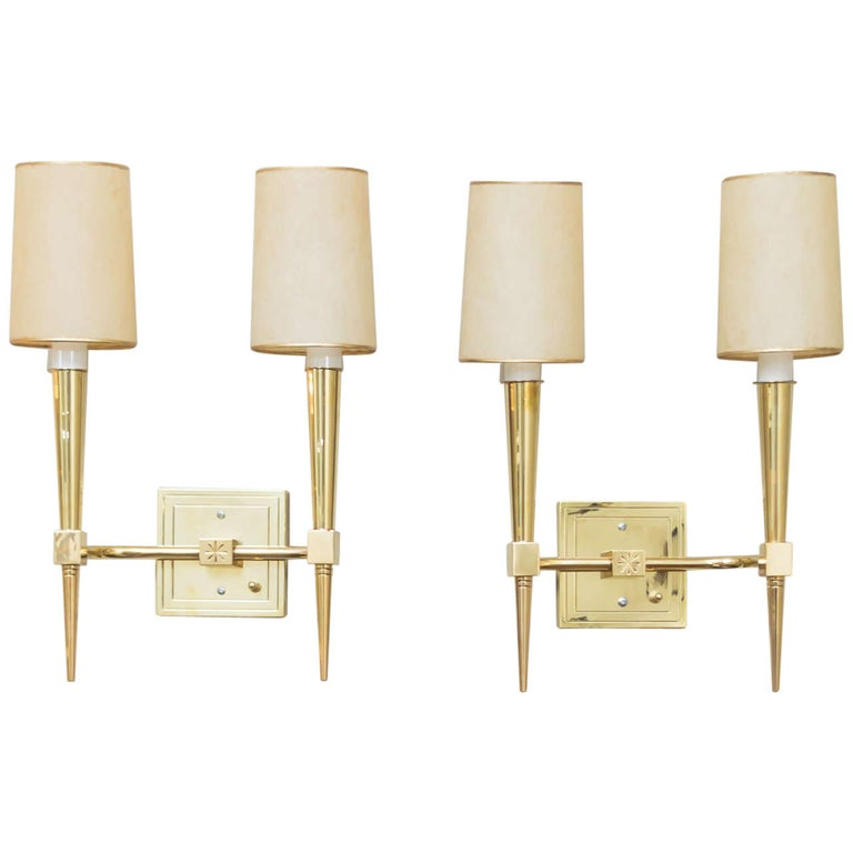 Pair of Tommi Parzinger Wall Sconces For Sale