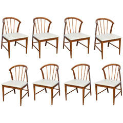 Walnut Danish Wishbone Chairs--Wegner Style--1960s