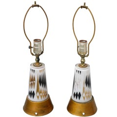 Pair of 1950s MCM glass lamps--USA