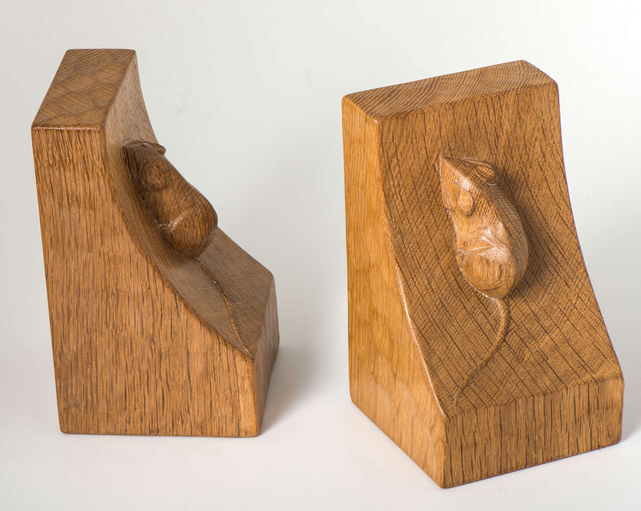 Robert mouseman thompson carved oak bookends england