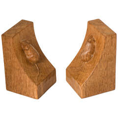 Pair of Robert Mouseman Thompson Oak Bookends
