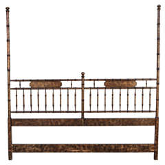 Hollywood Regency Chinoiserie Faux Bamboo Headboard