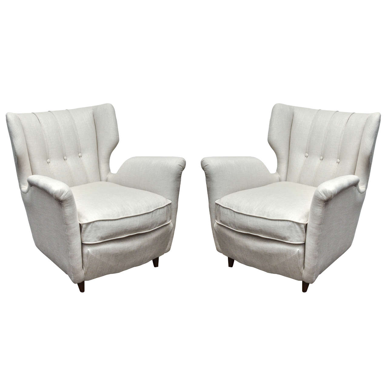 1950s Upholstered Club Chairs in Gio Ponti Style