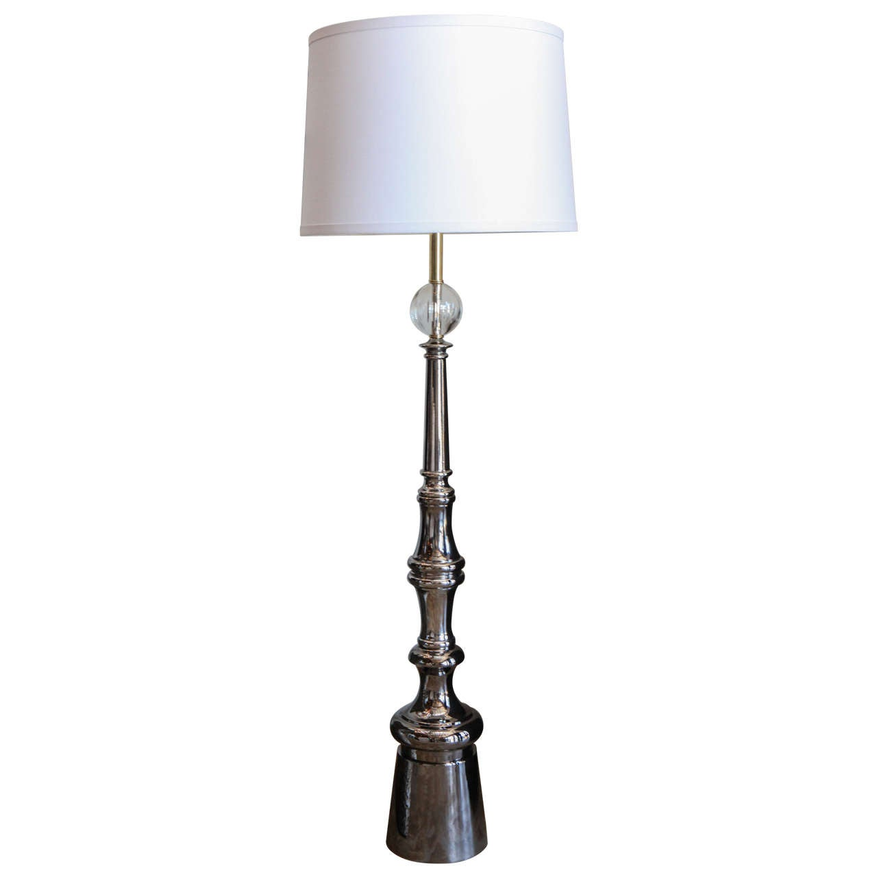 mid century modern black nickel and crystal floor lamps at 1stdibs. Black Bedroom Furniture Sets. Home Design Ideas