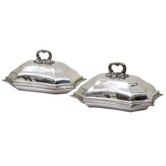Early 19th Century Georgian Sterling Silver Covered Dishes with Armorials, Pair