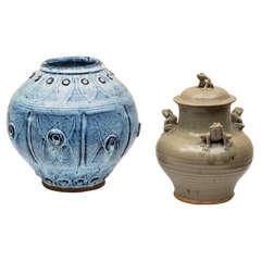 Two Studio Pottery Ceramics by Paz San Quentin Village, California, circa 1960