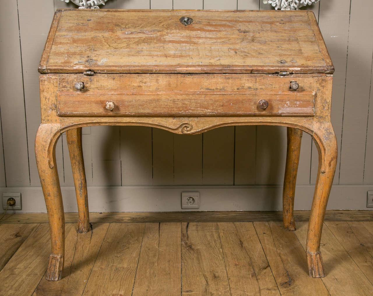 Swedish Desk in Carved and Painted Wood, circa 1760 at 1stdibs