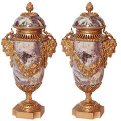Pair of 19th Century French Marble and Doré Bronze Lidded Urns