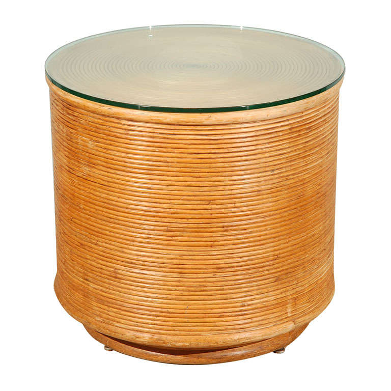 Rattan Drum Table At 1stdibs