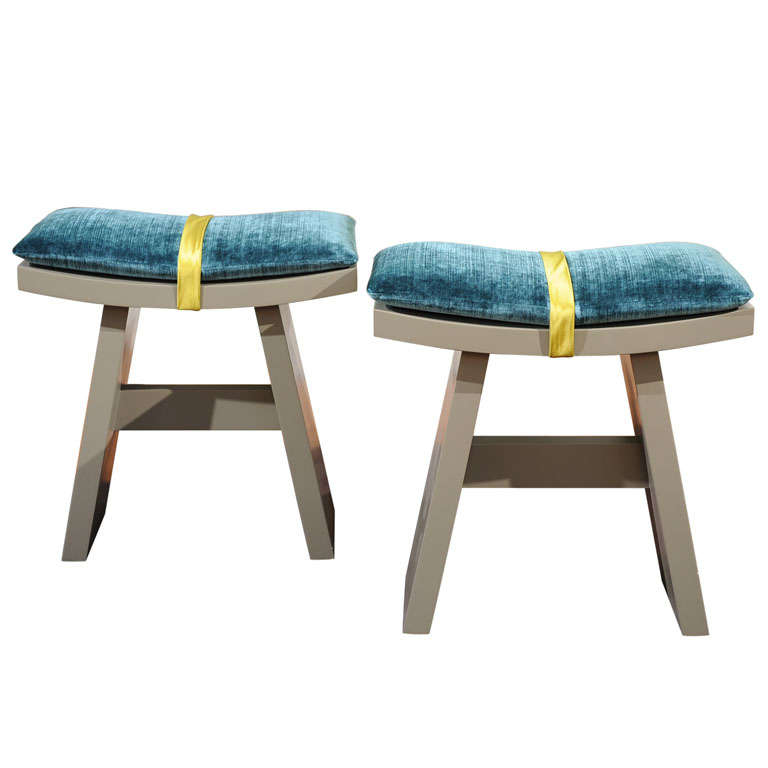 Set Of Two Gray Lacquer Stools With Cushion At 1stdibs