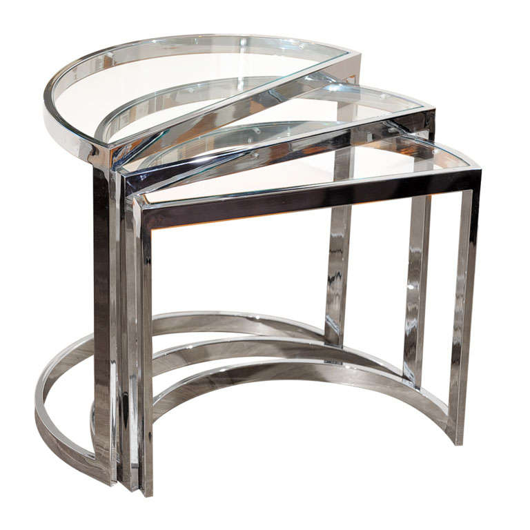 Chrome And Glass Nesting Tables At 1stdibs