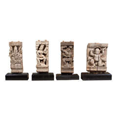 19th Century Hindu Temple Fragments from India Mounted on Bases