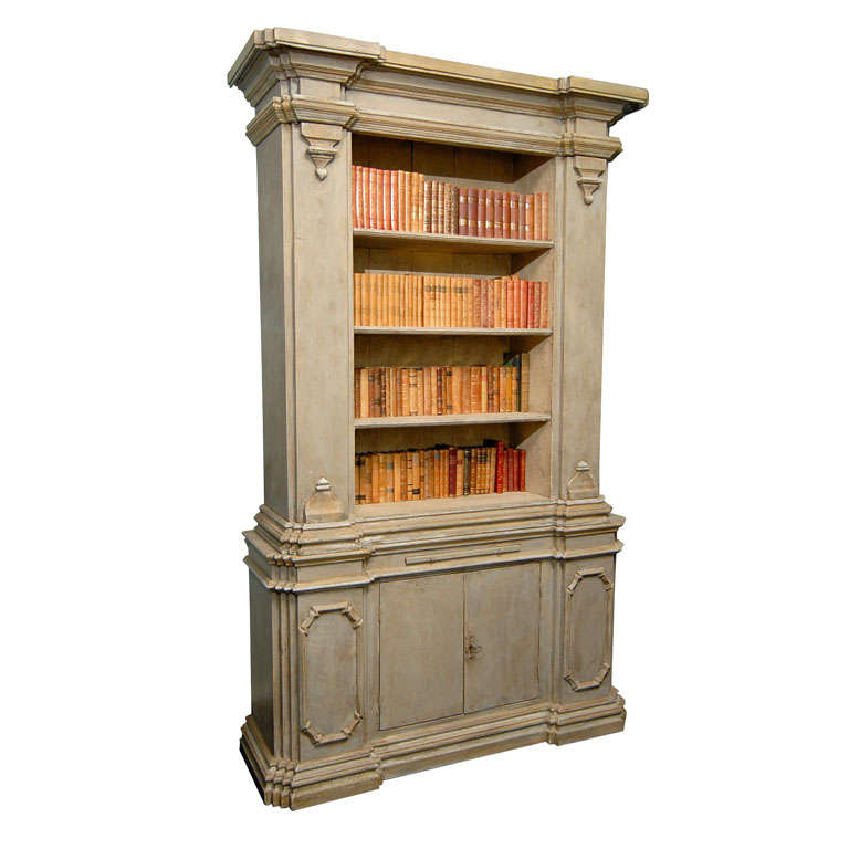 Gorgeous painted wood bookcase with two lower doors at 1stdibs for Wood bookcase with doors