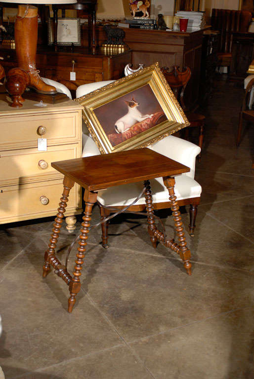 Spanish Late Renaissance Style Table with Bobbin Legs and Iron Stretcher, 1900s For Sale 4