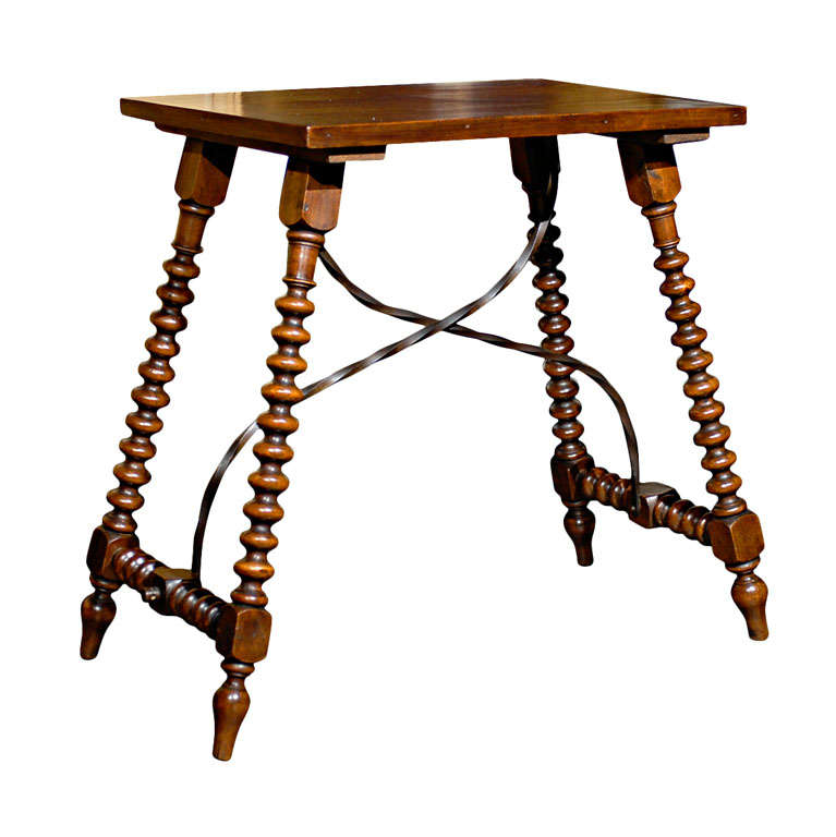 Spanish Late Renaissance Style Table with Bobbin Legs and Iron Stretcher, 1900s For Sale