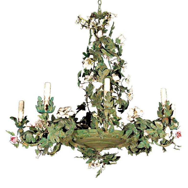 C 1920 Italian Tole Chandelier With Bisque Flowers At 1stdibs