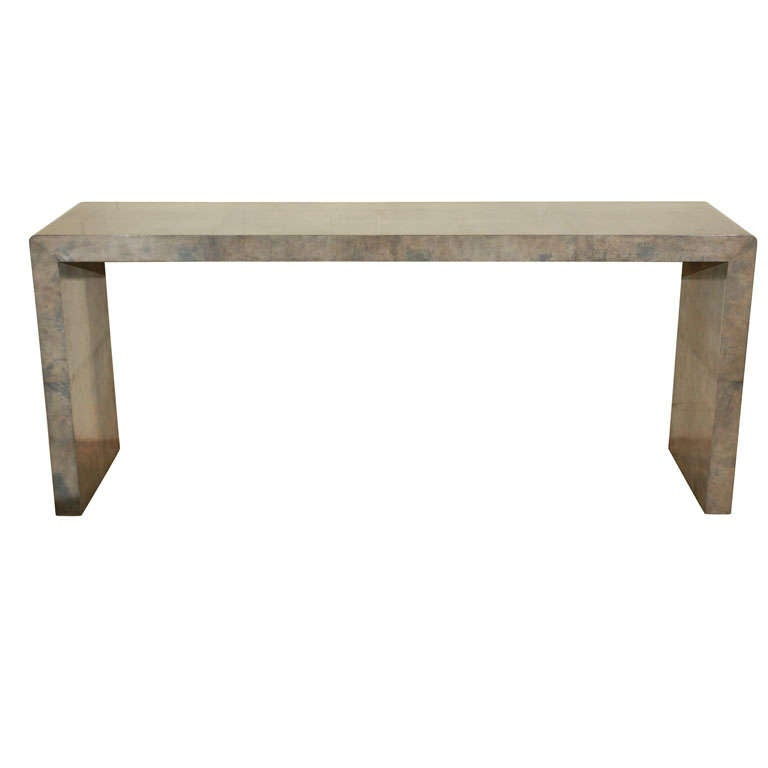 Long Parchment Parsons Console At 1stdibs